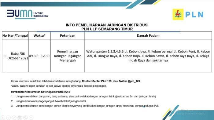 Info Pemeliharaan Jaringan Listrik PLN ULP Semarang Timur Rabu 6 Oktober 2021