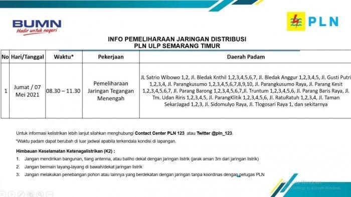 Info Pemeliharaan Jaringan Listrik Tlogosari PLN ULP Semarang Timur Jumat 7 Mei 2021