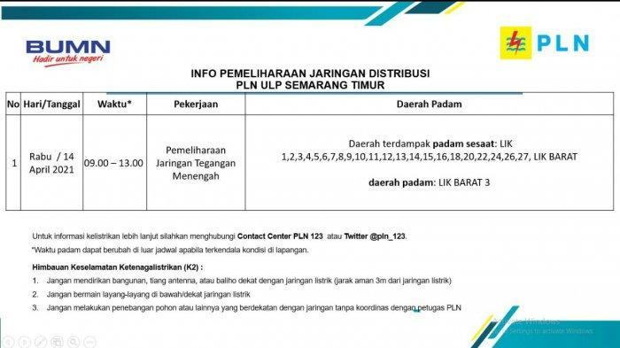 Info Pemeliharaan Jaringan Listrik LIK Barat PLN ULP Semarang Timur Rabu 14 April 2021