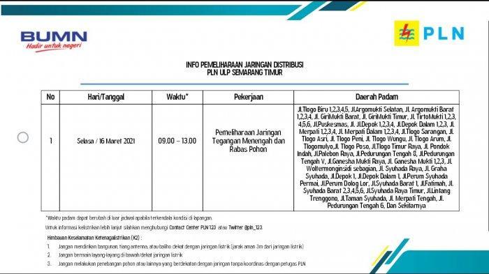 Info Pemeliharaan Jaringan Listrik Pedurungan PLN ULP Semarang Timur Selasa 16 Maret 2021