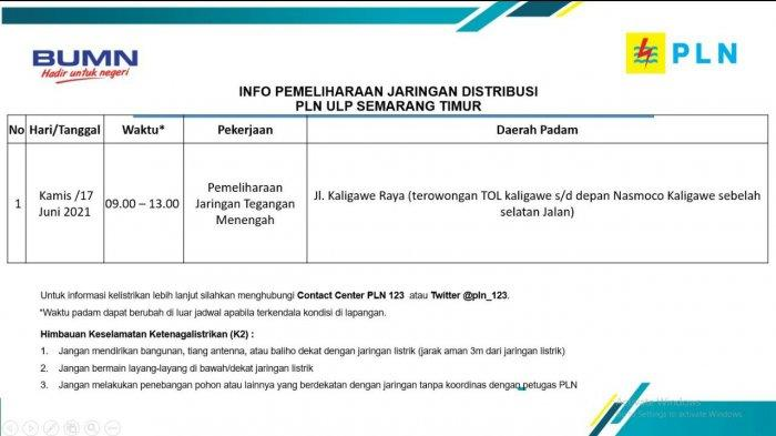 Info Pemeliharaan Jaringan Listrik PLN ULP Semarang Kamis 17 Juni 2021
