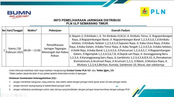 Info Pemeliharaan Jaringan Listrik Rogojembangan PLN ULP Semarang Timur Kamis 18 Februari 2021