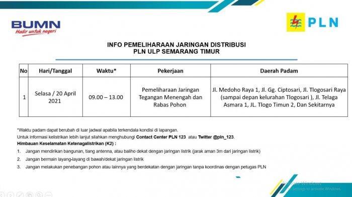 Info Pemeliharaan Jaringan Listrik Tlogosari PLN ULP Semarang Timur Selasa 20 April 2021