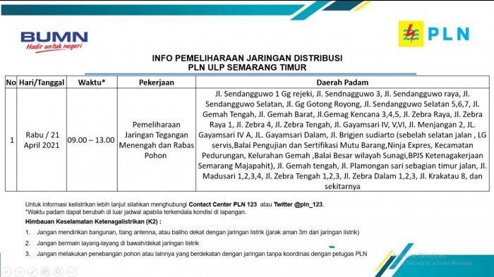 Info Pemeliharaan Jaringan Listrik PLN ULP Semarang Timur Rabu 21 April 2021