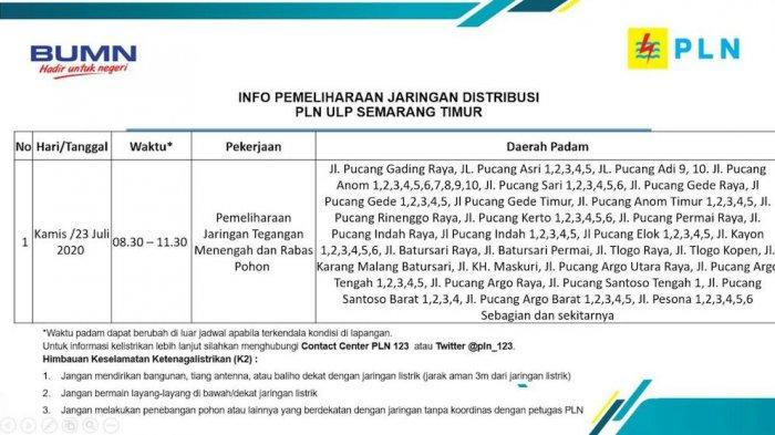 Info Pemeliharaan Jaringan Listrik Pucang Gading PLN ULP Semarang Timur, Kamis 23 Juli 2020