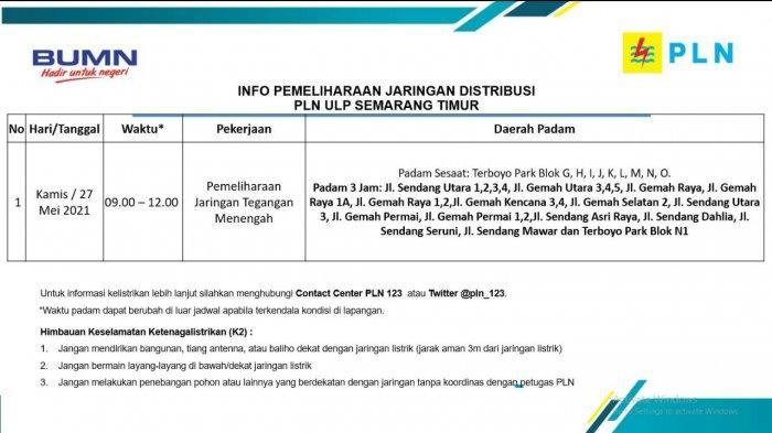 Info Pemeliharaan Jaringan Listrik Gemah dan Terboyo PLN ULP Semarang Timur Kamis 27 Mei 2021