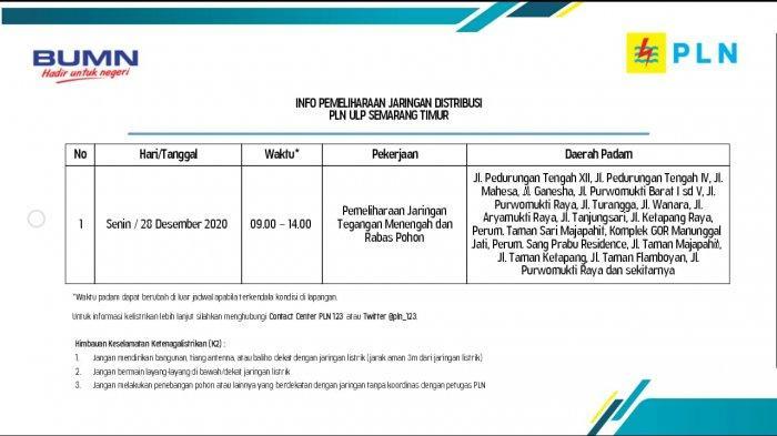 Info Pemeliharaan Jaringan Listrik Pedurungan PLN ULP Semarang Timur Senin 28 Desember 2020