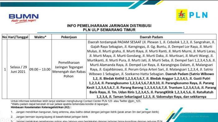 Info Pemeliharaan Jaringan Listrik Tlogosari PLN ULP Semarang Timur Selasa 29 Juni 2021