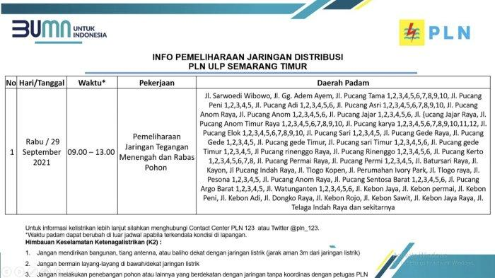 Info Pemeliharaan Jaringan Listrik PLN ULP Semarang Timur Selasa 29 September 2021
