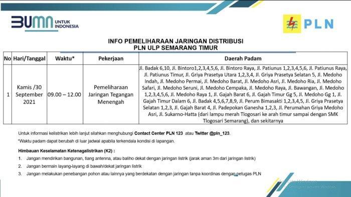 Info Pemeliharaan Jaringan Listrik PLN ULP Semarang Timur Rabu 30 September 2021