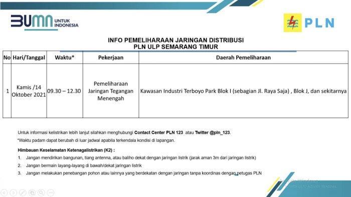 Info Pemeliharaan Jaringan Listrik PLN ULP Semarang Timur Kamis 14 Oktober 2021