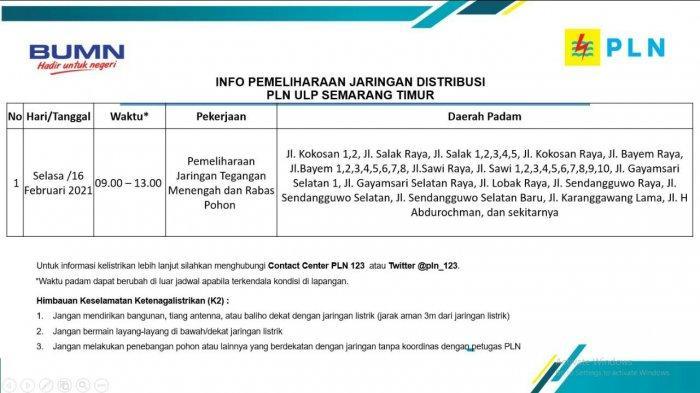 Info Pemeliharaan Jaringan Listrik Sendangguwo PLN ULP Semarang Timur Selasa 16 Februari  2021