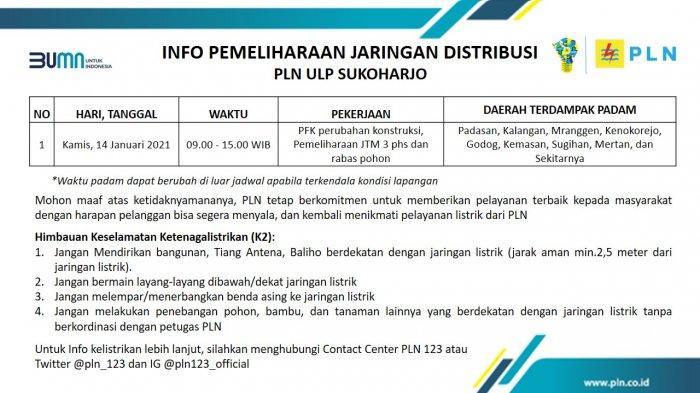 Info Pemeliharaan Jaringan PLN ULP Sukoharjo Kamis 14 Januari 2021