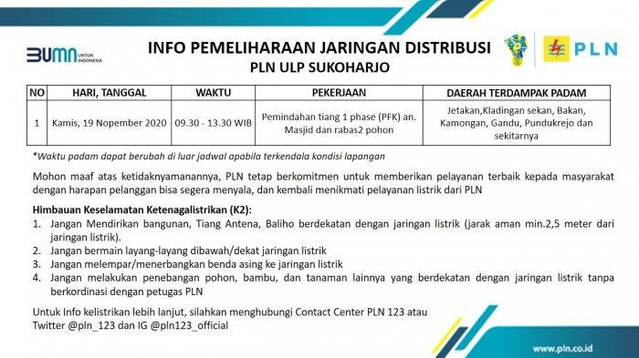 Info Pemeliharaan Jaringan Listrik PLN ULP Sukoharjo Kamis 19 November 2020