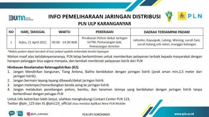 Info Pemeliharaan Jaringan Listrik PLN ULP Karanganyar Rabu 21 April 2021