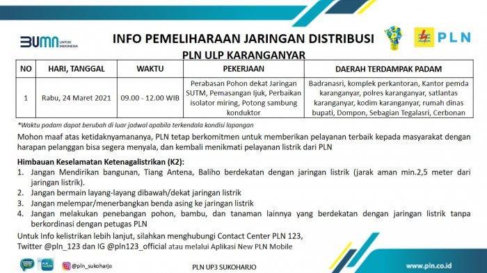Info Pemeliharaan Jaringan Listrik PLN ULP Karanganyar Rabu 24 Maret 2021