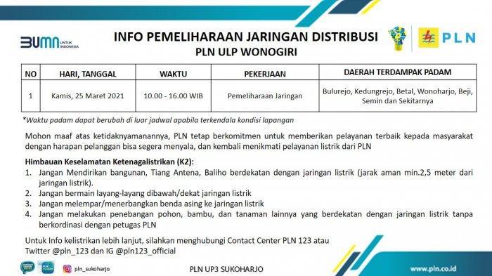 Info Pemeliharaan Jaringan Listrik PLN ULP Wonogiri Kamis 25 Maret 2021