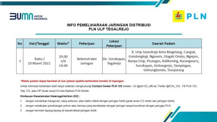Info Pemeliharaan Jaringan Listrik PLN ULP Tegalrejo Magelang Rabu 10 Maret 2021