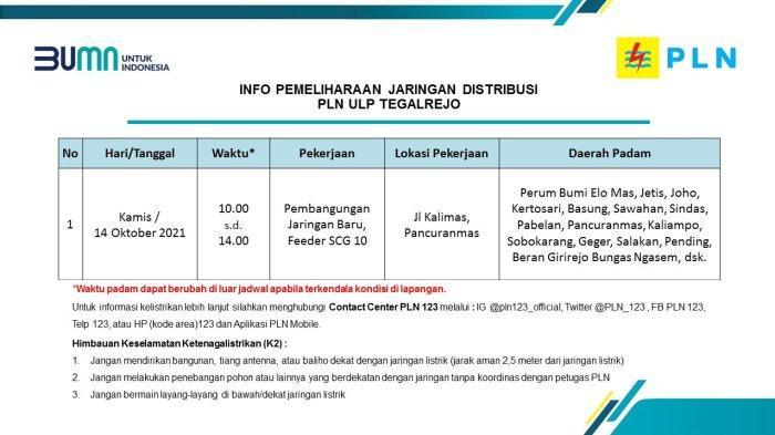 Info Pemeliharaan Jaringan Listrik PLN ULP Tegalrejo Magelang Kamis 14 Oktober 2021