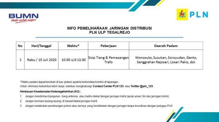 Info Pemeliharaan Jaringan Listrik PLN ULP Tegalrejo, Rabu 15 Juli 2020