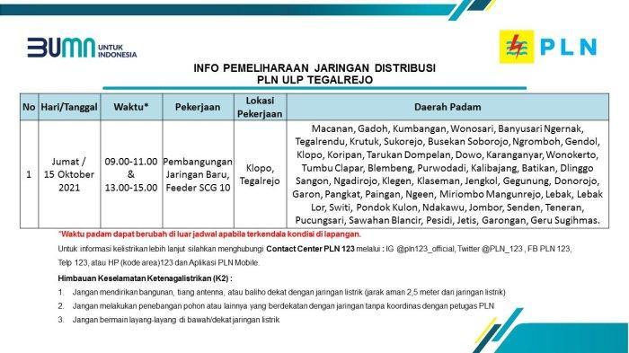Info Pemeliharaan Jaringan Listrik PLN ULP Tegalrejo Magelang Jumat 15 Oktober 2021