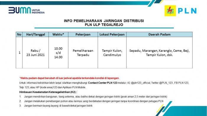Info Pemeliharaan Jaringan Listrik PLN ULP Tegalrejo Magelang Rabu 23 Juni 2021