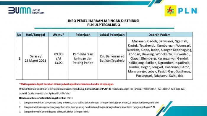 Info Pemeliharaan Jaringan Listrik PLN ULP Tegalrejo Magelang Selasa 23 Maret 2021