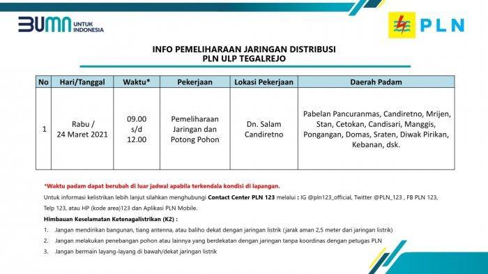 Info Pemeliharaan Jaringan Listrik PLN ULP Tegalrejo Magelang Rabu 24 Maret 2021