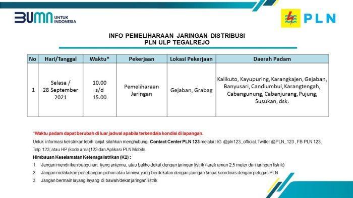 Info Pemeliharaan Jaringan Listrik PLN ULP Tegalrejo Magelang Selasa 28 September 2021