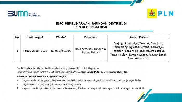 Info Pemeliharaan Jaringan Listrik PLN ULP Tegalrejo Magelang Rabu 29 Juli 2020