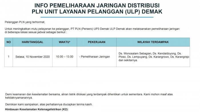 Info Pemeliharaan Jaringan Listrik PLN ULP Tegowanu Selasa 10 November 2020