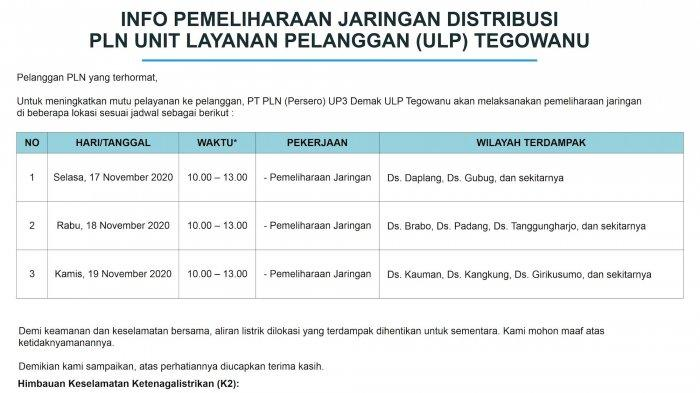 Info Pemeliharaan Jaringan Listrik PLN ULP Tegowanu Selasa 17 November 2020