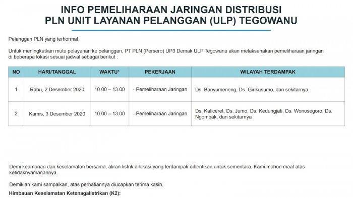 Info Pemeliharaan Jaringan Listrik PLN ULP Tegowanu Rabu 2 Desember 2020
