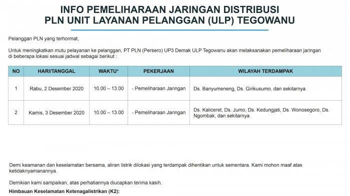 Info Pemeliharaan Jaringan Listrik PLN ULP Tegowanu Kamis 3 Desember 2020