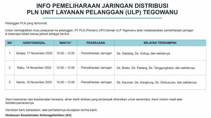 Info Pemeliharaan Jaringan Listrik PLN ULP Tegowanu Rabu 17 November 2020