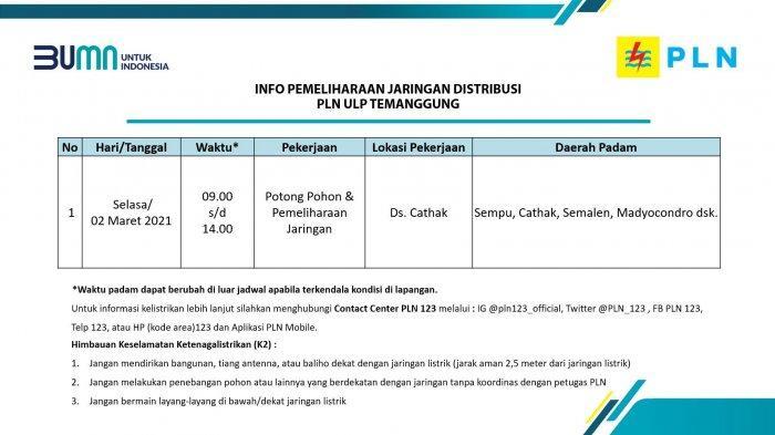 Info Pemeliharaan Jaringan PLN ULP Temanggung Selasa 2 Maret 2021