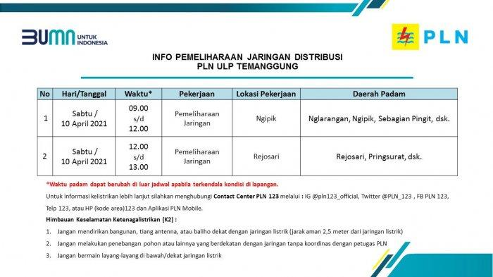 Info Pemeliharaan Jaringan Listrik PLN ULP Temanggung Jumat 10 April 2021