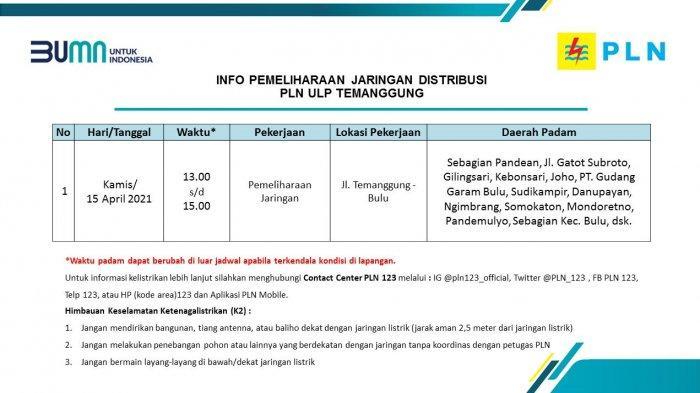 Info Pemeliharaan Jaringan Listrik PLN ULP Temanggung Kamis 15 April 2021