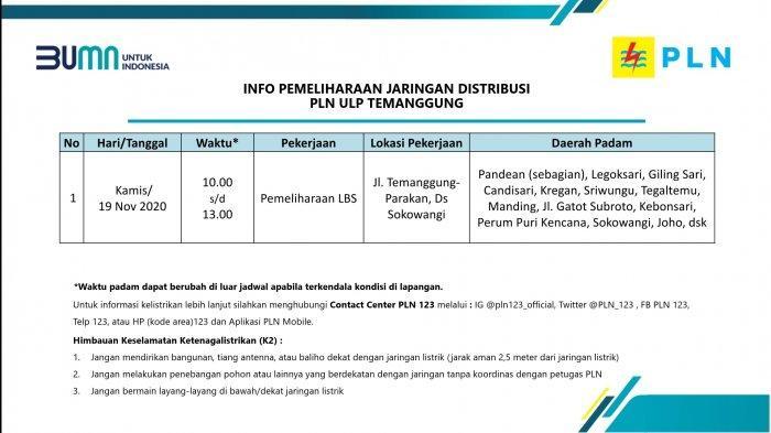 Info Pemeliharaan Jaringan Listrik PLN ULP Temanggung Kamis 19 November 2020