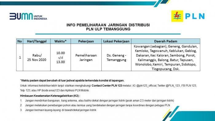 Info Pemeliharaan Jaringan Listrik PLN ULP Temanggung Rabu 25 November 2020