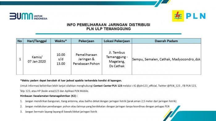 Info Pemeliharaan Jaringan Listrik PLN ULP Temanggung Kamis 7 Januari 2021