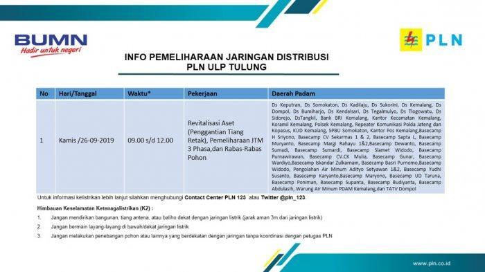 Info Pemeliharaan Jaringan Listrik PLN ULP Tulung Hari Ini, Kamis 26 September 2019