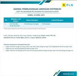 Info Pemeliharaan Jaringan Listrik PLN ULP Tulung Klaten Kamis 29 April 2021