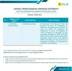 Info Pemeliharaan Jaringan Listrik PLN ULP Tulung Klaten, Selasa 4 Mei 2021