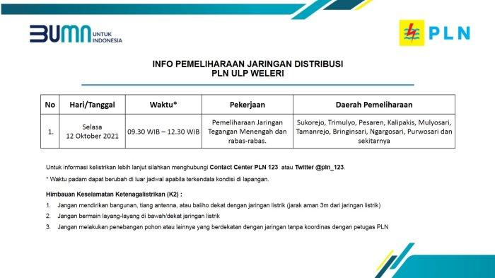 Info Pemeliharaan Jaringan Listrik PLN ULP Weleri Selasa 12 Oktober 2021
