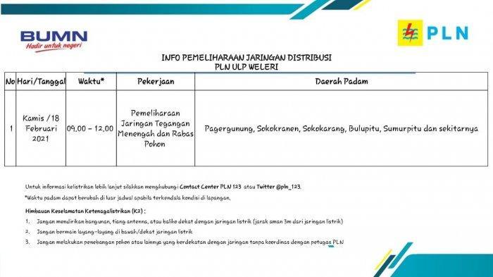 Info Pemeliharaan Jaringan Listrik PLN ULP Weleri Kendal Kamis 18 Februari  2021