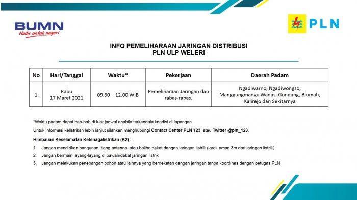 Info Pemeliharaan Jaringan Listrik PLN ULP Weleri Rabu 17 Maret 2021