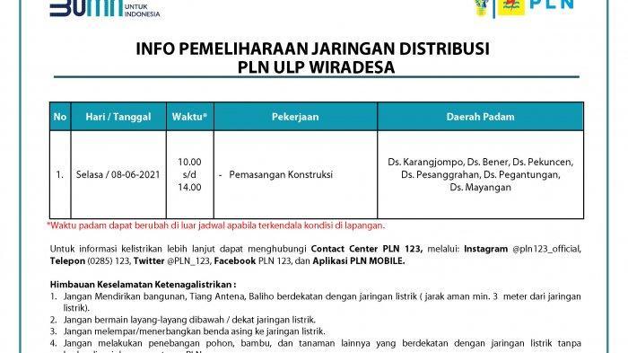 Info Pemeliharaan Jaringan Listrik PLN ULP Wiradesa Pekalongan Selasa 8 Juni 2021