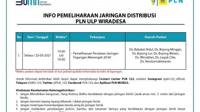 Info Pemeliharaan Jaringan Listrik PLN ULP Wiradesa Pekalongan Selasa 23 Maret 2021