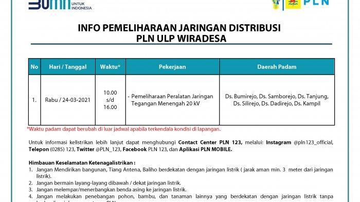 Info Pemeliharaan Jaringan Listrik PLN ULP Wiradesa Pekalongan Rabu 24 Maret 2021